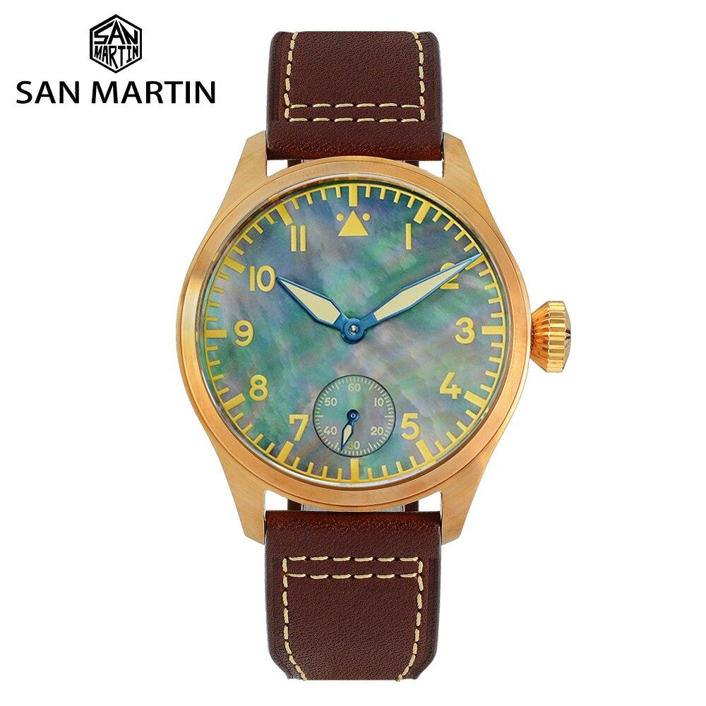 سان مارتن رجالي برونزية الطيار ساعة شفافة الظهر النورس 6498 ساعة ميكانيكية الياقوت الجلود مضيئة ساعة أوتوماتيكية