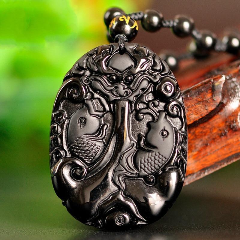 Collar de cuentas de obsidiana negra Natural, colgante de Jade tallado a mano para carpa, amuleto de joyería de moda, regalos para hombres y mujeres, joyería