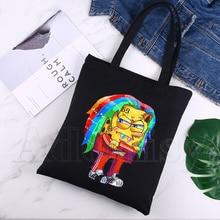 6ix9ine T Shirt Rapper Tekashi69 Design Shoulder Canvas Bags Large Capacity College Harajuku Handbag