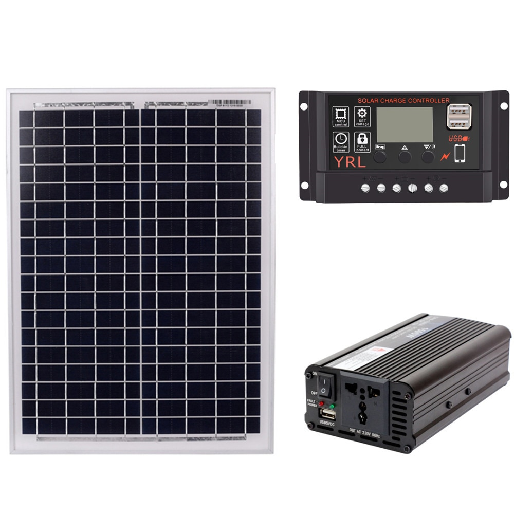 Panel Solar de 18V20W + controlador de 12V / 24V + Kit de inversor de 1500W AC220V, adecuado para energía Solar de ahorro de energía para exteriores y domésticos Ge