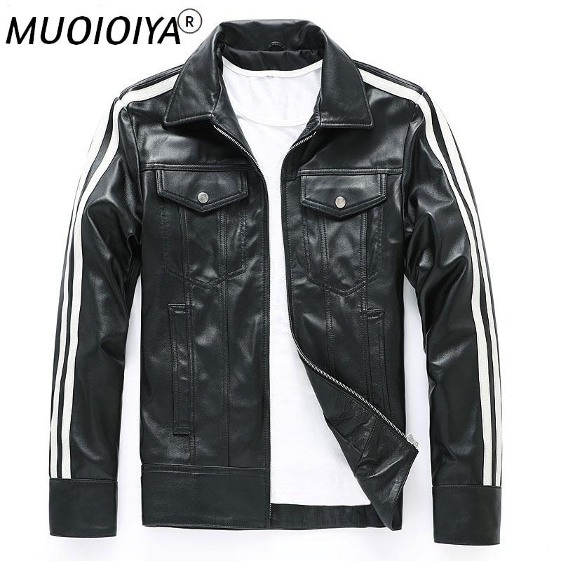 الرجال ملابس جلد طبيعي جلد الغنم دراجة نارية سترة معطف ضئيلة قصيرة الكورية نمط وسيم سترة