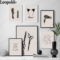 modern barber utensils canvas poster comb scissors hair band hairpin painting wall art simple hair salon decoration