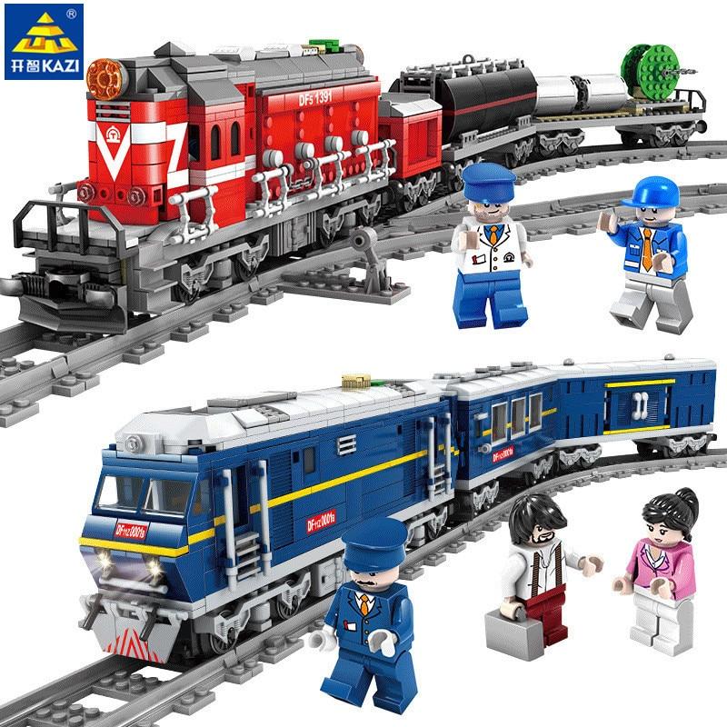 Tren de ciudad Kazi de carga de tren de diésel con orugas modelo bloques de construcción técnica juguetes para niños