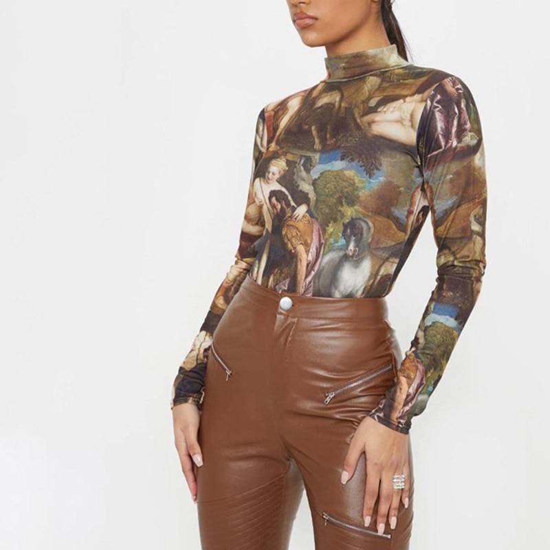 Women Bodysuit Vintage Printed Full Length Regular Sleeve Turtleneck Slim Fitting Skinny Fashion Rompers
