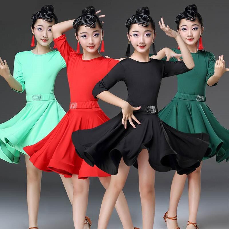 2019 בנות לטיני שמלות לריקודים סלוניים שמלת ריקוד רומבה סמבה קטיפה ילדי סמבה צ ה צ ה טנגו חצאית סטנדרטי סלסה