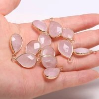 2pcs natural stone charm pendant drop shaped faceted rose quartzs for jewelry making diy nacklace earring 13x23mm