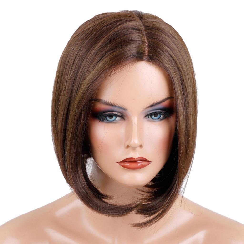 المرأة قصيرة مستقيم بوبو باروكة من الشعر الطبيعي تأثيري فستان حفلة بوب خصلات الشعر المستعار