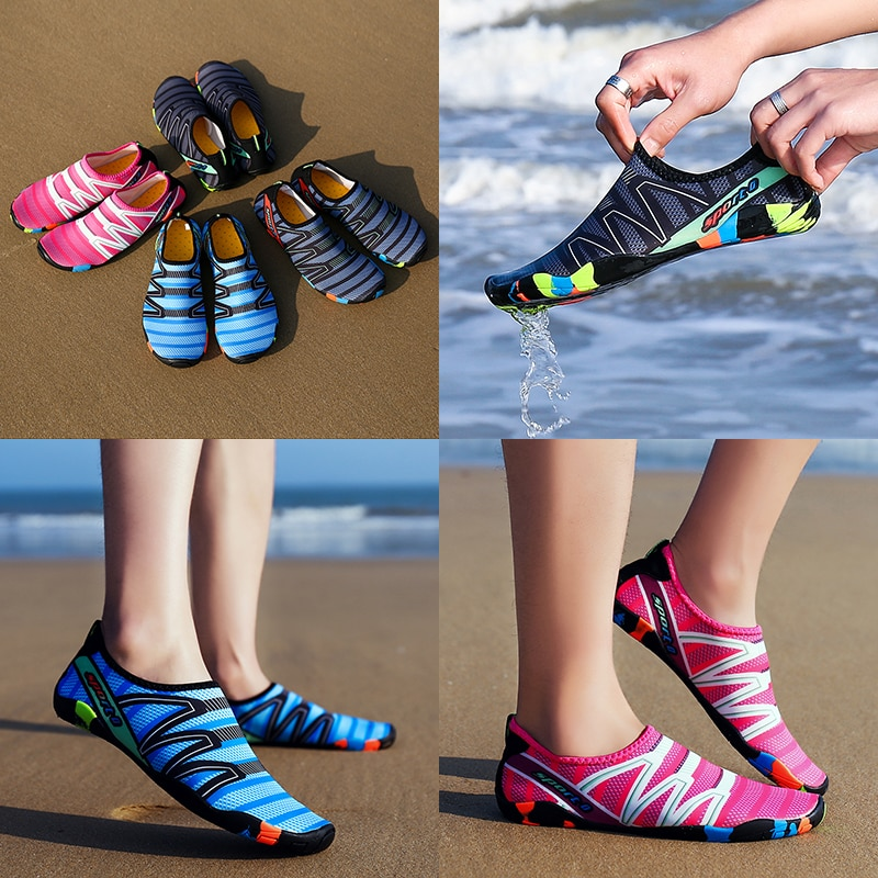 Nuevos zapatos de playa para hombre, sandalias de agua, zapatillas de buceo, zapatos de natación, fácil de transportar, zapatos estilo Creek transpirables ligeros y secos