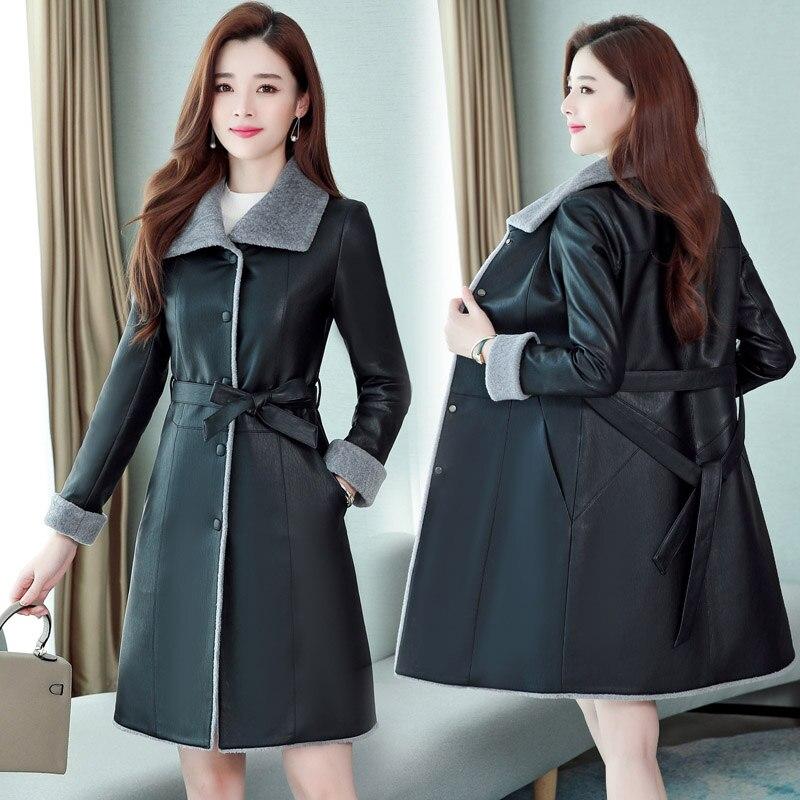 Autumn Women Leather Fur Jacket Winter Plus Size 6XL Thick Warm Soft Pu Leather Jacket Women Long Coat Slim Lamb Fur Outerwear enlarge