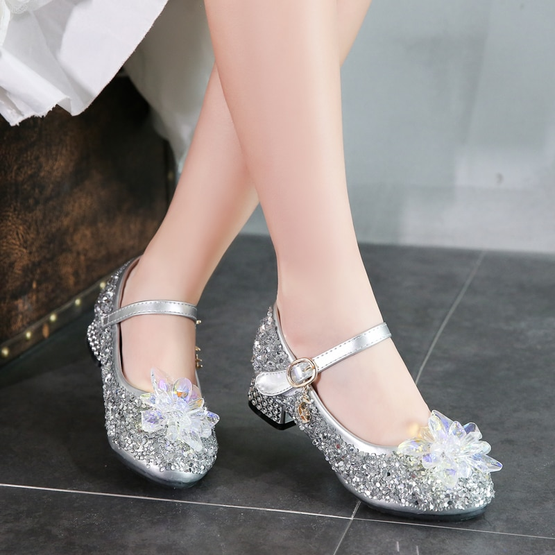 Girl's Crystal Shoes 2020 New Korean Children's Shoes Silver Performance Single Shoe 4-12 Years Kids High Heel Princess's Shoes enlarge
