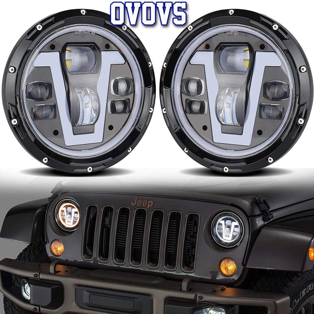 Unique Design Wrangler Led 7 inch 50W Lights V type DRL amber angel eyes Lamps for Jeep wrangler Defender Land Rover Lada Niva