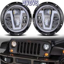 Wrangler lampes Led 7 pouces   Conception Unique, 50W lumières V type DRL, ambre angel eyes, lampes pour Jeep wrangler Defender Land Rover Lada Niva