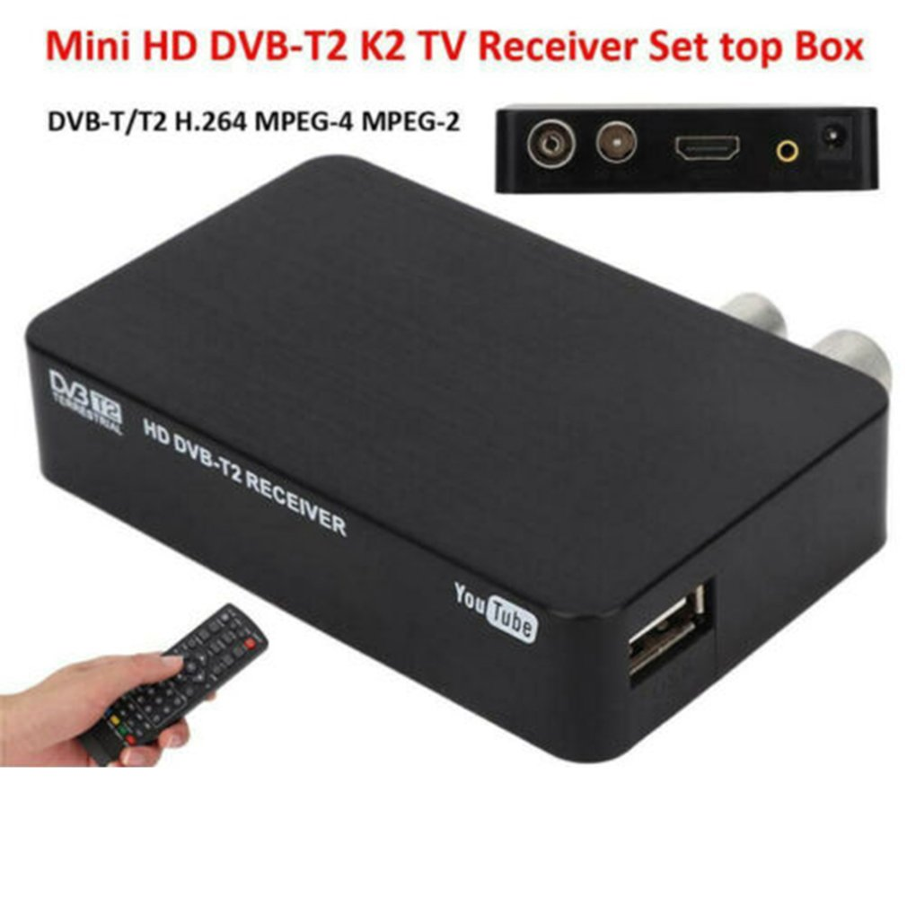 1pc vga dvb t hd 1080p digital tv box receivers 5w eu plug adapter av cvbs receiver remote control mayitr Full HD 1080P Mini Digital Video Smart K2 STB MPEG4 DVB-T2 Receiver TV Box+Remote Controller Set Top Box