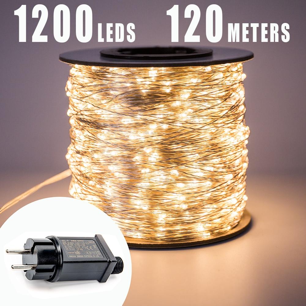 30m 50m 100m LED-uri cu șiruri de lumină de stradă, impermeabilă, pentru decorarea sărbătorilor în aer liber de Crăciun