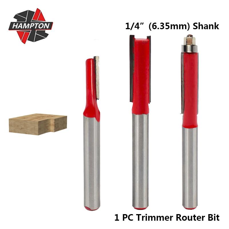 Hampton 1pc 6.35mm shank trimmer roteador bit para madeira flush guarnição gravura bit carboneto fresa reta flauta fresa