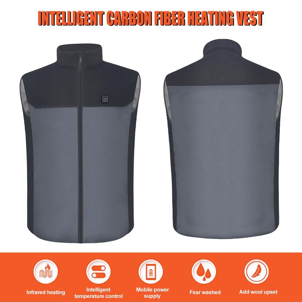 Chaleco de calefacción lavable USB de carga de calentamiento de tres velocidades chaleco cálido para Camping al aire libre senderismo Golf