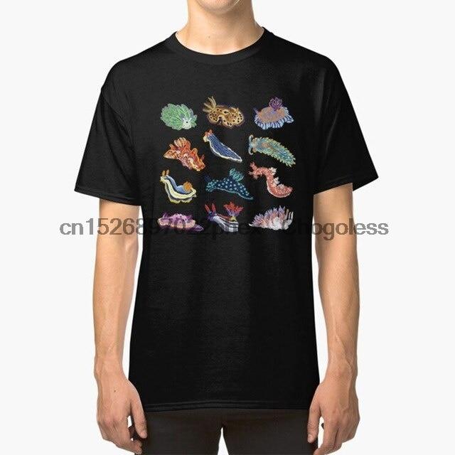 Nudie Cuties t-shirt mer limace nudibranche biologie Marine biologie coloré arc-en-ciel infographie bleu mer océan plan1