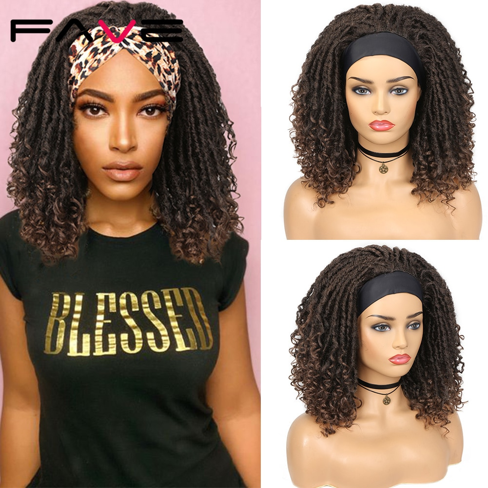 Fave Dreadlock Headband Wig Synthetic Braided Goddess Faux Nu Locs Curly Wig Dreads Freetress Twist Crochet Hair for Black Women