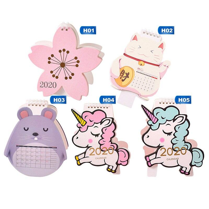 2020 animales bonitos de dibujos animados Mini decoración de calendarios linda chica creativa Calendario de escritorio cepilladora de Kawaii del calendario de mesa