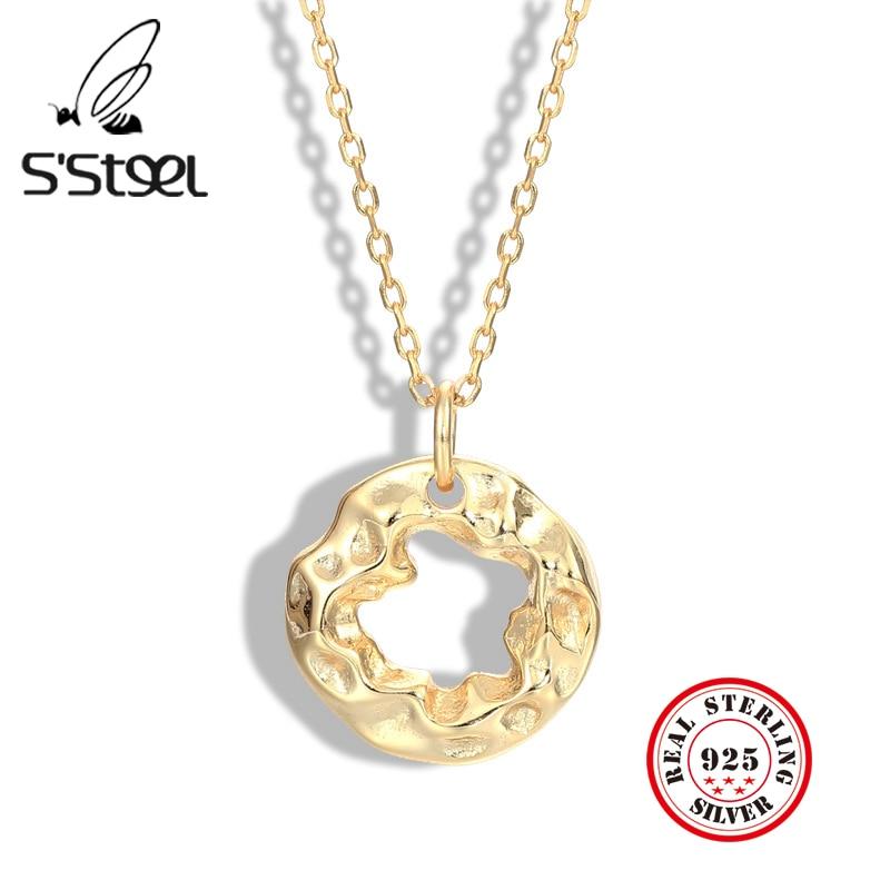 S'STEEL геометрические ожерелья из стерлингового серебра 925 пробы для женщин круглые персонализированные золотые подвески ожерелье Colgante Plata 925...