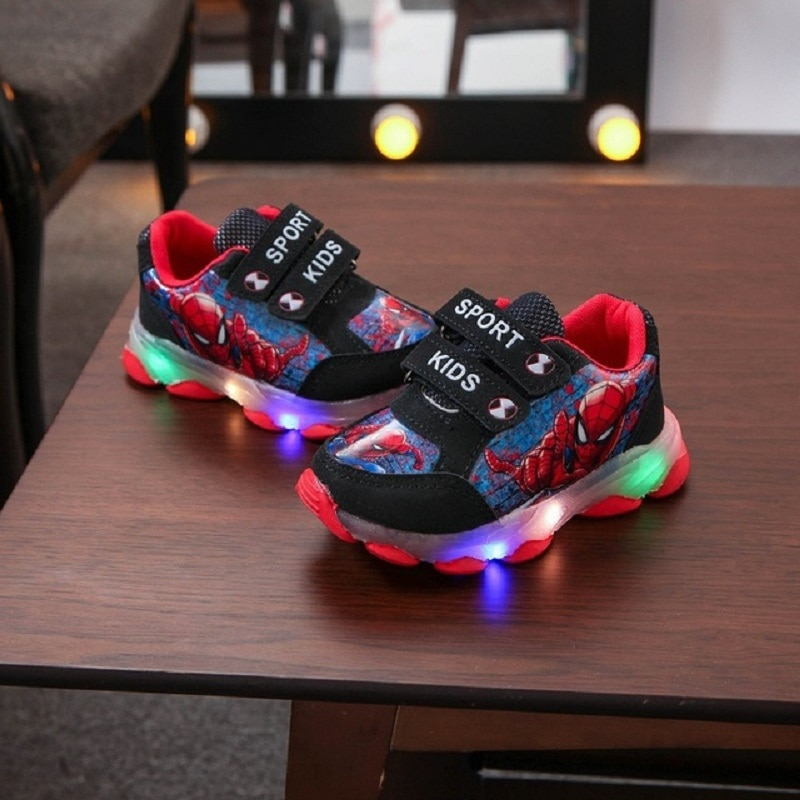 Disney Children Casual Shoes with LED Light Girls Sneakers 2021 Autumn New Princess for Teenager boy