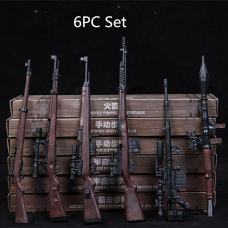 Juego de 6 uds. De pistola de juguete modelo escala 1/6 accesorios RPG M14 montaje automático de Rifle arma modelo accesorios de figuras de acción