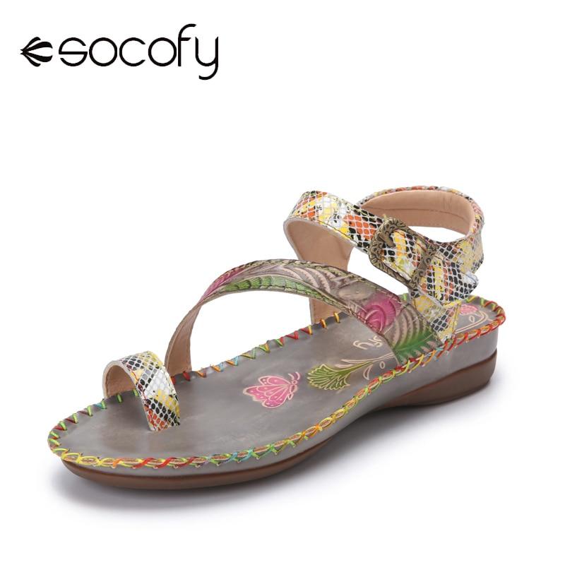 Socofy Bohemian Ethnic Print Splicing Genuine Leather Hook Loop Toe Ring Flat Sandals Women Casual S