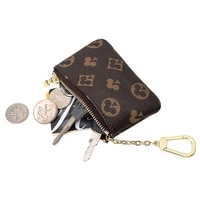 mini classical wallet purse brand designer zipper coin purse leather key bag unisex leather bag keychian purse and wallet coin