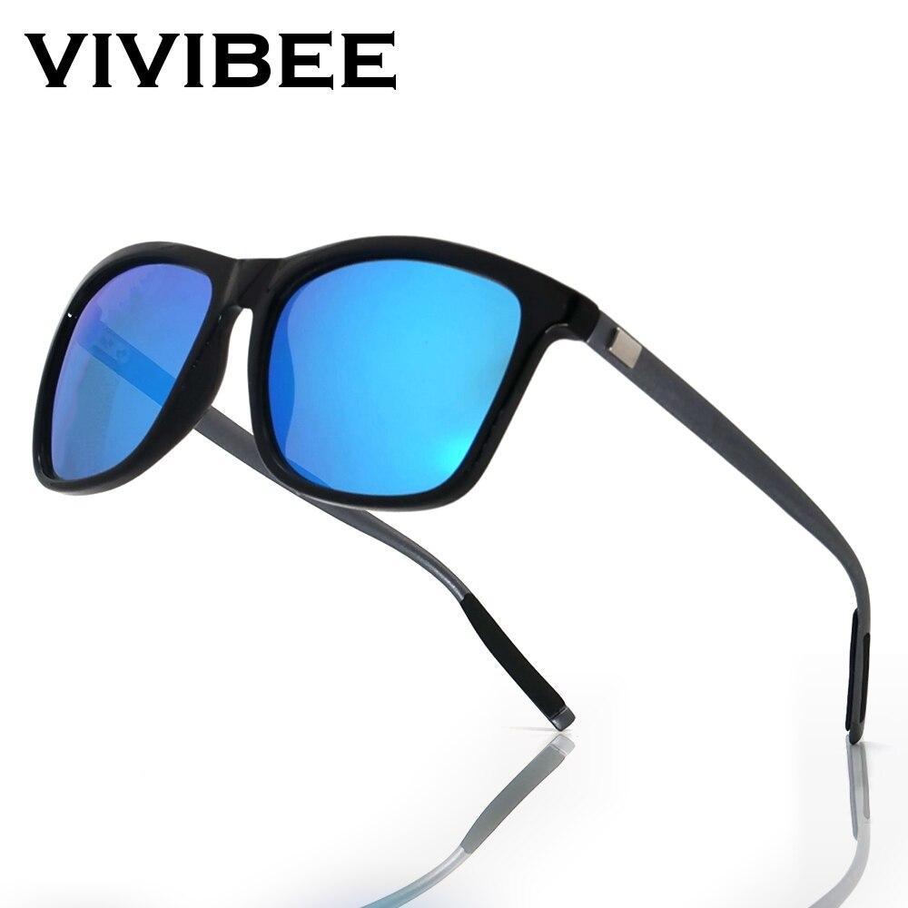 Vivibee luxo quadrado polarizado óculos de sol homem condução azul espelho lente clássico unisex óculos de sol 2020 tendências
