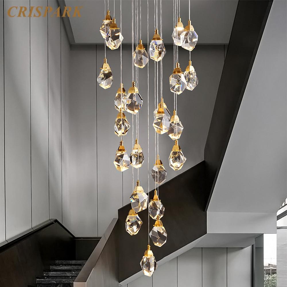 Contemporary Chandelier Lighting LED Modern Cut Crystal Pendant Light Brass Stairs Hanging Lamp Kitchen Island Light Fixture
