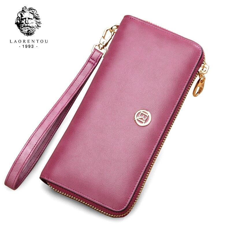 LAORENTOU Women Split Leather Wallets Fashion Clutch Wallets Retro Lady Pouch Simple Stylish Women's