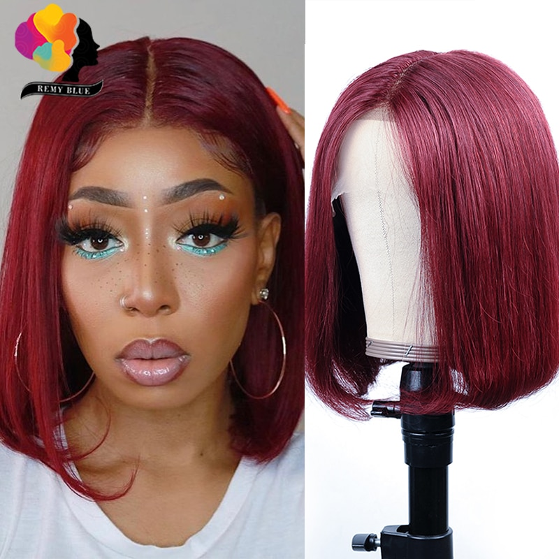 Straight Burgundy Short Bob WigsT Part Lace Wig Pre-Colored Brazilian Remy 99J Red Lace Front Human Hair Wigs For Woman Remyblue