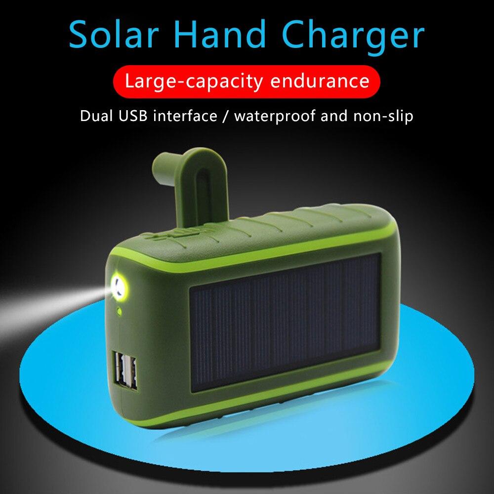 6000/8000mAh متعددة الوظائف خزان طاقة يعمل بالطاقة الشمسية كرنك اليد دينامو بالطاقة العالمي المزدوج USB في الهواء الطلق المحمولة شاحن PoverBank