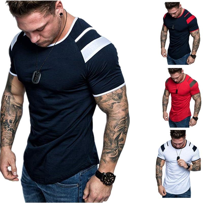 Summer 2021 New Splicing Short-Sleeved T-Shirt For Men Casual Fashion O Collar T-Shirt For Men Fitness Splicing T-Shirt M----3XL