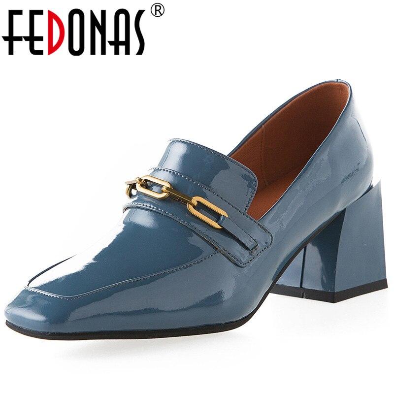 FEDONAS-حذاء نسائي بمقدمة مربعة ، أحذية عمل عالية الجودة ، كعب مربع ، مجموعة ربيع وصيف جديدة 2021