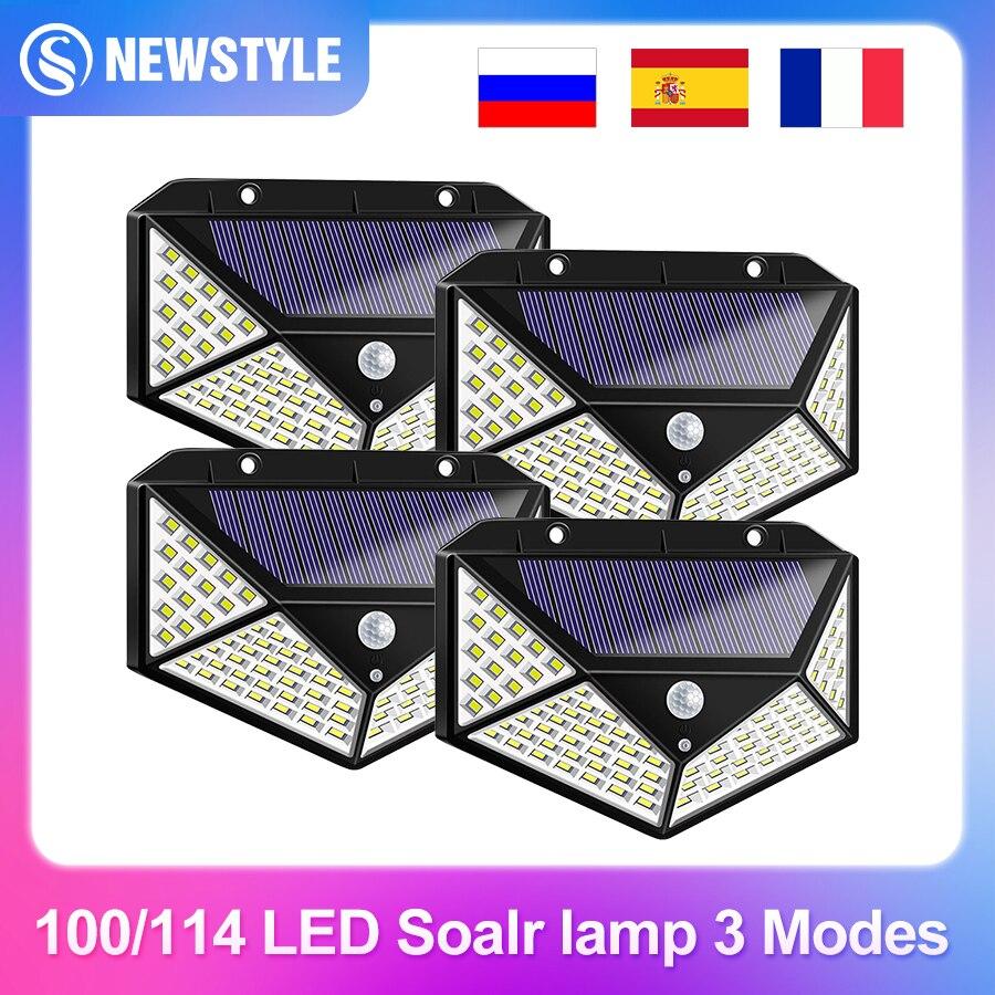 100/114 LED Solar Lamp Outdoor Waterproof Solar Powered spotlights PIR Motion Sensor Street Light for Garden Decoration 3 Modes