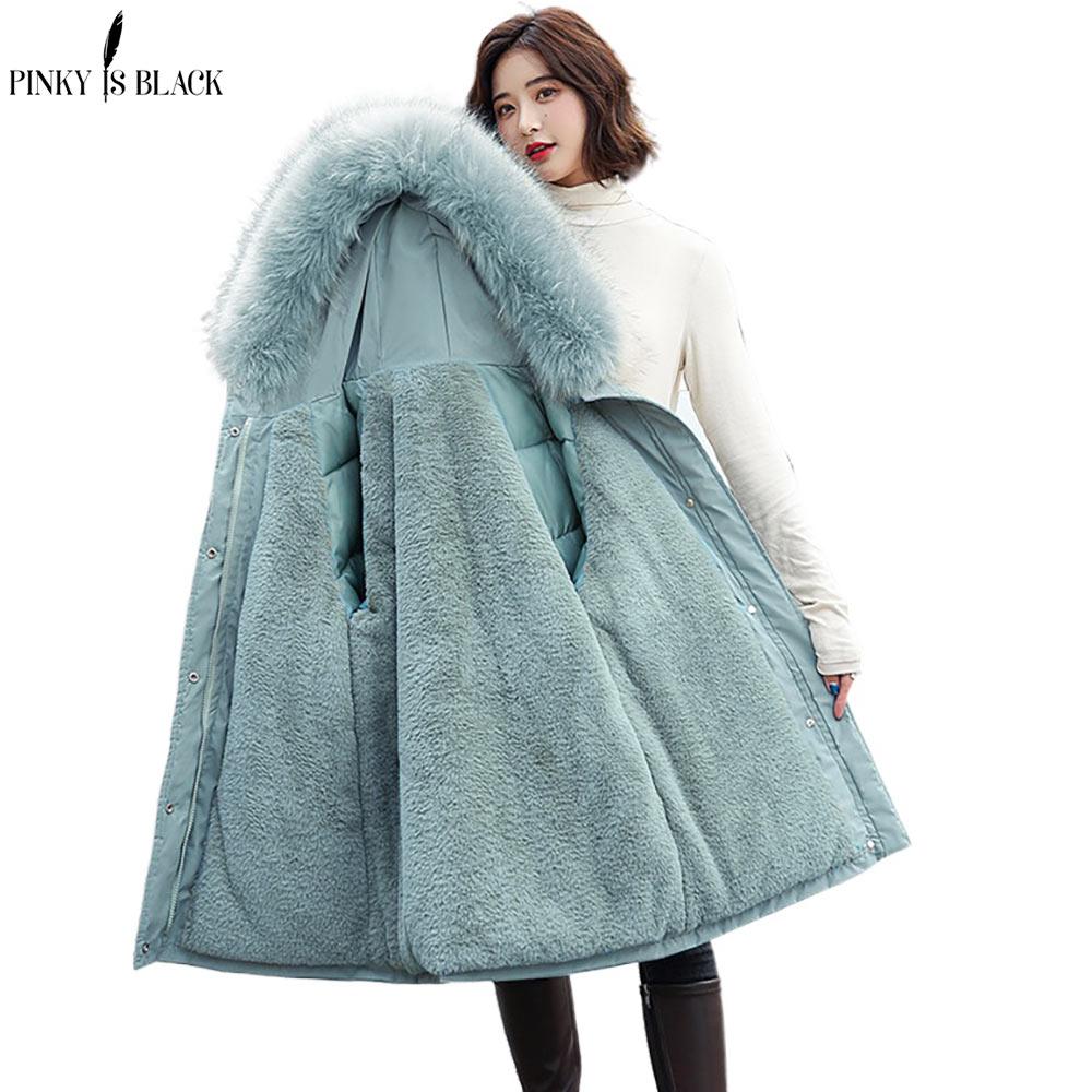 PinkyIsBlack Winter Jacket Women Thick Parkas Fur Liner Hooded Coat Wadded Long Gilrs Jaqueta Feminin