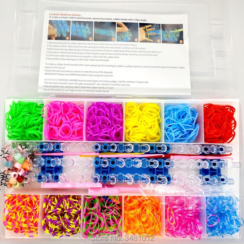 1800 pçs de borracha colorida tear bandas elástico diy conjunto caixa meninas presente tecelagem pulseira ferramenta kit crianças brinquedos para crianças 7 8 10 anos