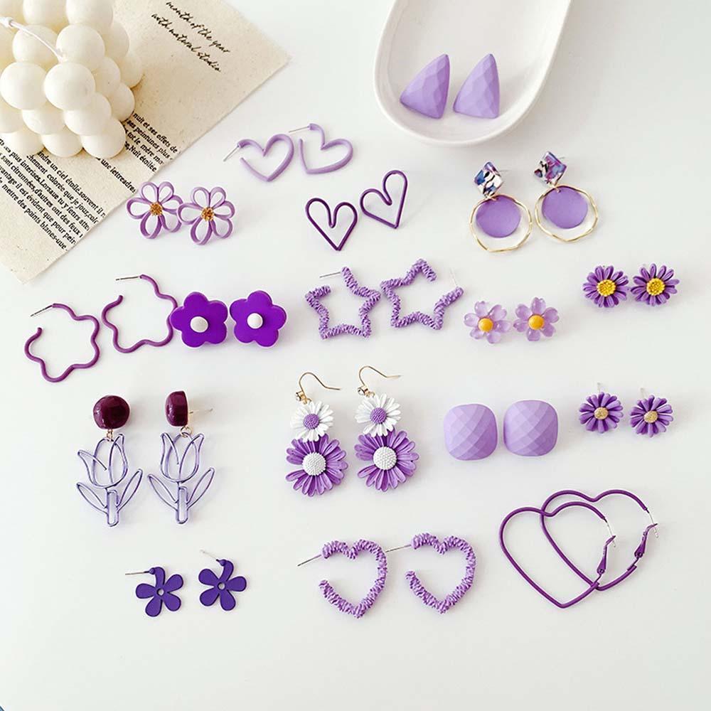 AliExpress - Trendy Fresh Earring Elegant Earrings Women Wedding Party Jewelry Simple Purple Flower Petal Drop Earrings