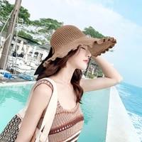sun hat women large brim uv protection shell hollow top hat linen woven hat summer sunscreen knitted fisherman hat women hat