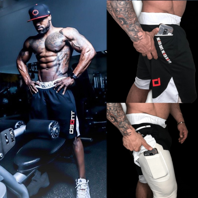 Summer New Men's Double-Layer Shorts Pocket Muscle Gym Training Outdoor Running Sports Loose Sweat-Absorbent Plus Size Pants