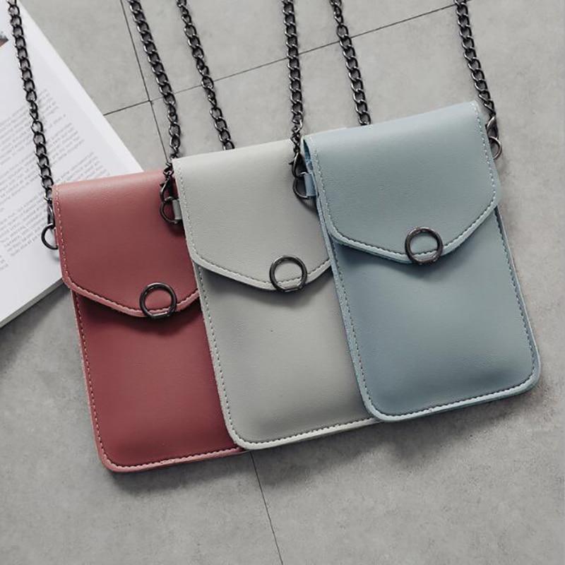 Bolso para teléfono móvil con pantalla táctil para mujer, bolso transparente Simple nuevo con broche, carteras de cruz, bolso ligero de hombro de cuero para Smartphone