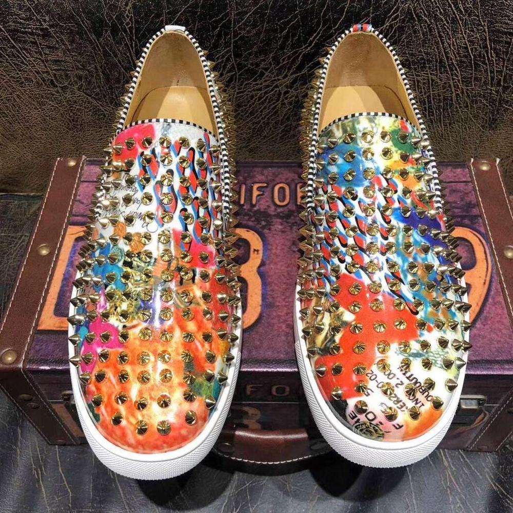 Luxury Brand Men's Fashion designer Shoes High quality Graffiti flats Loafers men Handmade Spiked Ma