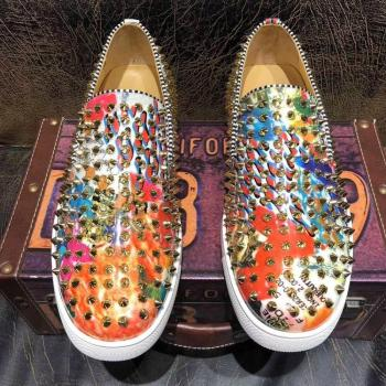 Luxury Brand Men's Fashion designer Shoes High quality Graffiti flats Loafers men Handmade Spiked Man Party wedding dress shoes