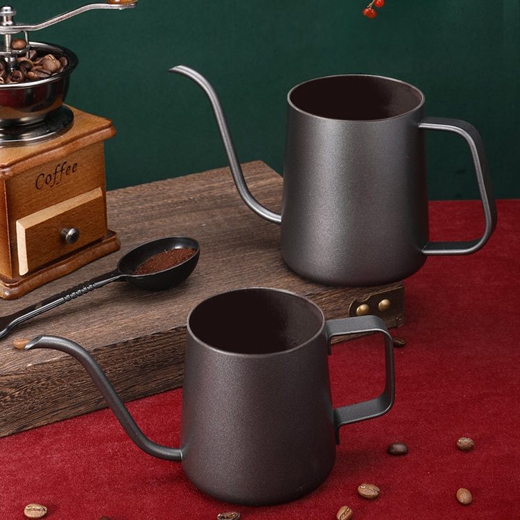 إبريق قهوة من الفولاذ المقاوم للصدأ ، مثقاب يدوي أوروبي ، عتيق ، سعة كبيرة ، فم رفيع ، أدوات قهوة محمولة ، مطبخ DA60KFH