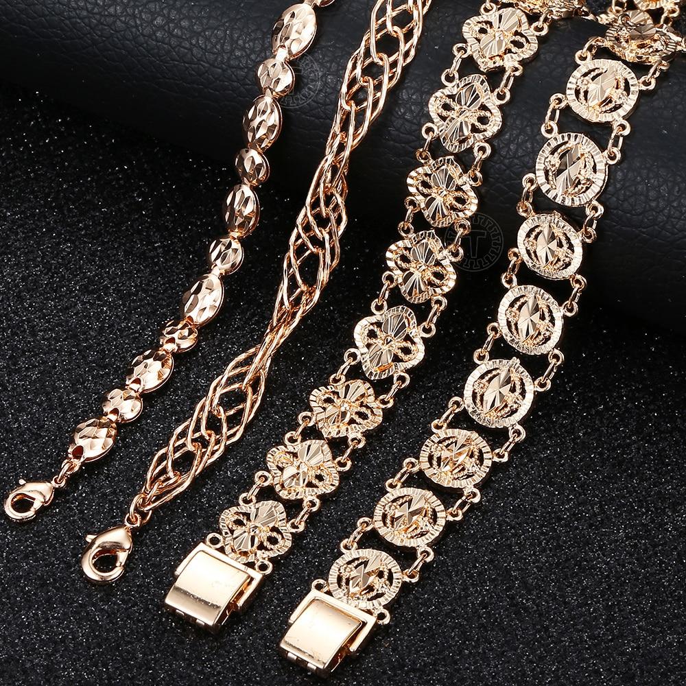 5 arten Frauen Männer Mädchen 585 Rose Gold Armband Armreif Fashion Cut Out Geschnitzte Blume Herz Oval Armband Ketten Armbänder CBM04