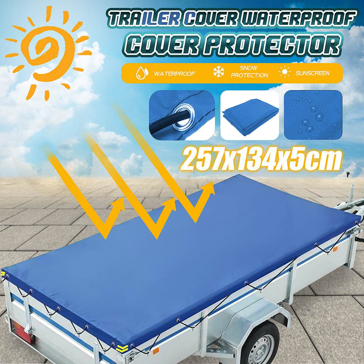 Foldable Trailer Cover Outdoor Travel Camper Waterproof Windproof Dustproof Protective Cover Tarp Ca
