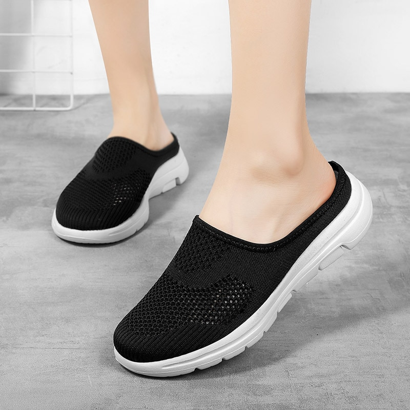 2020 Women Shoes Spring Casual Breathable Flying Woven Light Flat Sneakers Flats Ladies