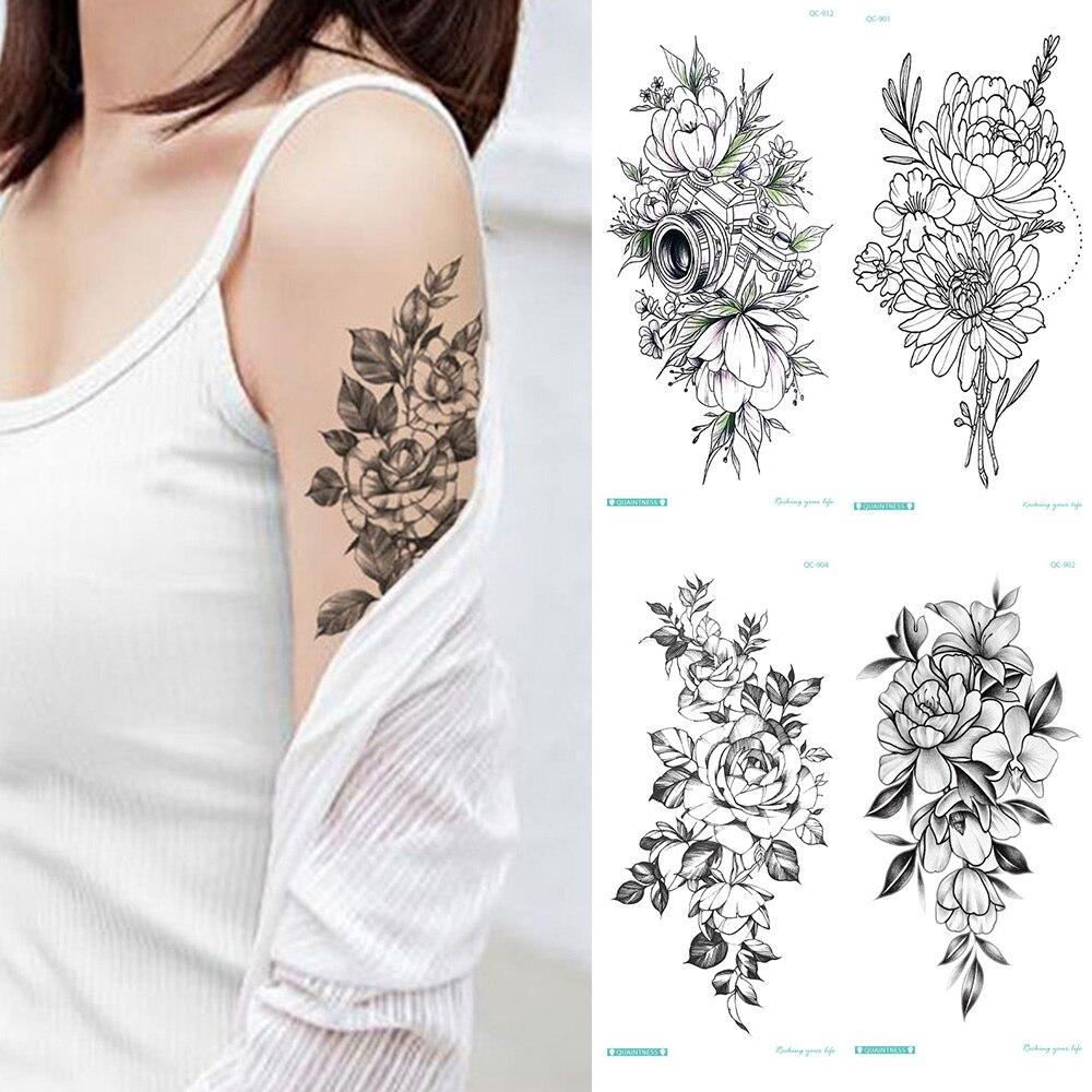 Calcomanía de tatuaje temporal con nota musical, dibujo de rosas y peonías, Diseños de Tatuajes Sexy para chicas, modelo de tatuajes negros para piernas y brazos