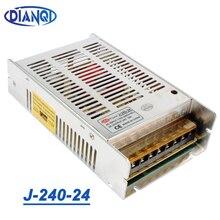 عالية الجودة نموذج جديد قطاع 12 فولت 20A 240 واط 24 فولت 10A تحويل التيار الكهربائي الفضة LED التيار المتناوب 110-220 فولت المدخلات إلى تيار مستمر 24 فولت J-240-24